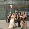 Bride and Bridesmaids Strike a Pose outside Museum of Sex NYC