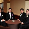 Groom, Groomsmen wait in Lounge