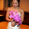 Bride with her Pink Orchid Bouquet